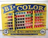 1950's Vintage Bi Color Pencils Set Display on Original Card, Art Collectible, Vintage Office