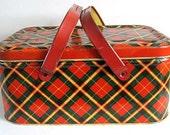 Nice 1950's Tin Picnic Basket Red Green Yellow Plaid Storage Box Tin Container
