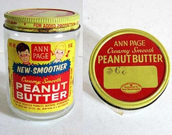 1950 vintage ann page peanut butter advertising glass jar with
