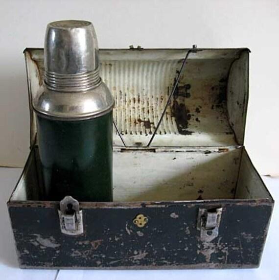 1940 Vintage Blue Collar  Workman's Worn Black Metal Lunch Box, Thermos