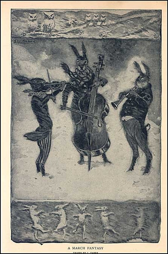 A March Fantasy Storybook Illustration Print c 1910 Musical Rabbits Trio Playing in the Wind