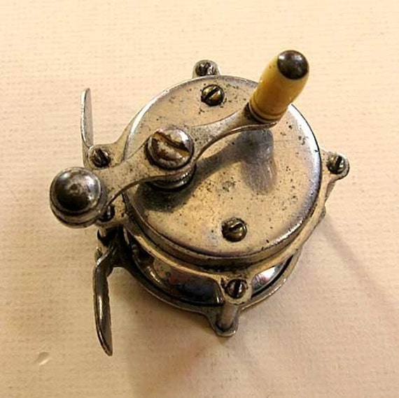 Small Antique Nickel Plated Fishing Reel w Bone Knob, The Climax Brand c 1920s