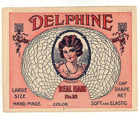 Vintage 1920 Delphine Flapper Girl Hair Net Package w Net Inside, Beauty Shop, Spa Collectible