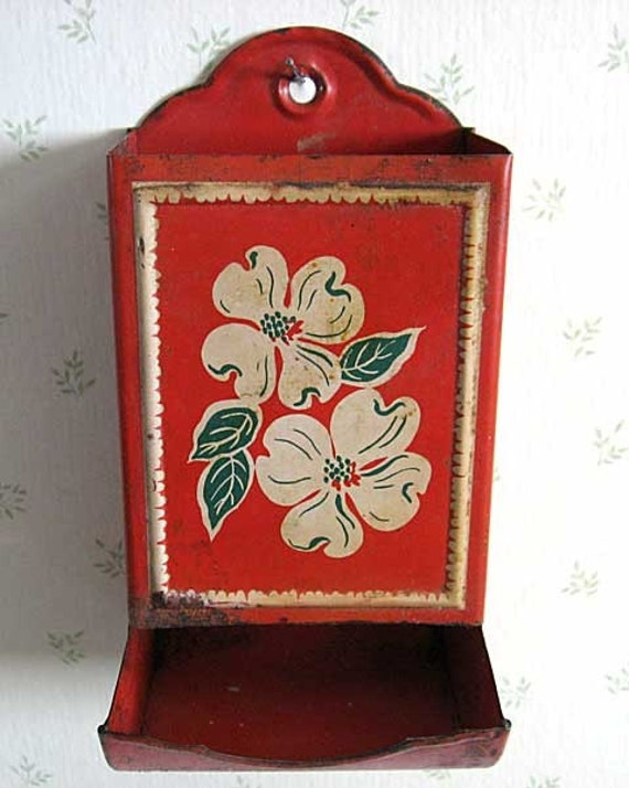 1940's Vintage Tin Kitchen Match Holder in Bright Red with White and Green Flower Front for Your Wall Decor