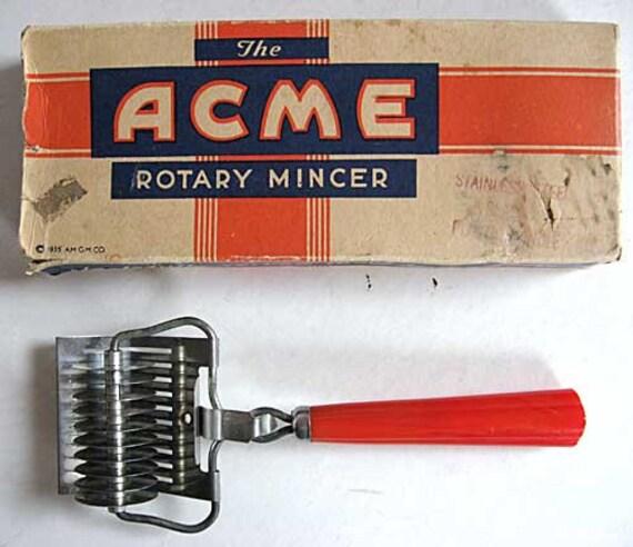 Vintage 1935 Acme Rotary Mincer Kitchen Utensil Tool In Original Box, Red Bakelite Handle