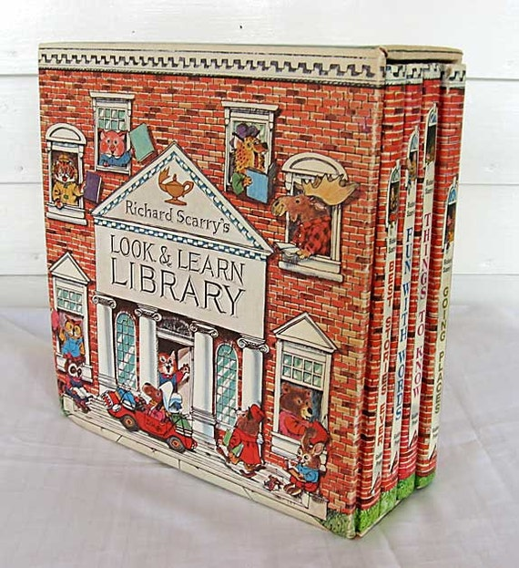 Vintage 1971 Richard Scarry Look Learn Library 4 Book Set in Slipcase Box, Children Picture Books