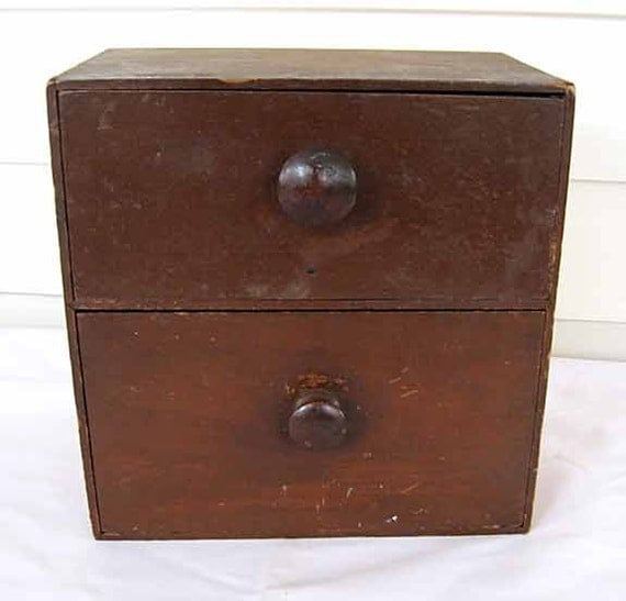 Antique 1890's Vintage Small Table Top Size 2 Drawer Wooden Cabinet w Old Finish