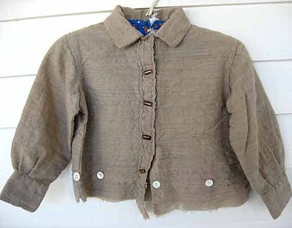 Antique Homespun Oatmeal Brown Wool Primitive Country Boy's Work Shirt c1880
