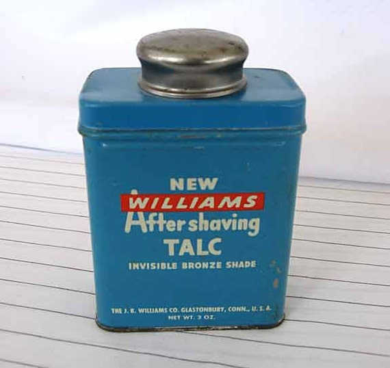 1950 Vintage Williams Aftershaving Talc Advertising Tin in Blue, Red, White, Lid and Contents