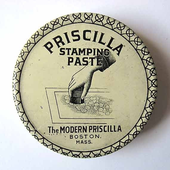 Antique 1900 Vintage Priscilla Stamping Paste Lithographed Tin w Hand Stamping a Design, Black and White