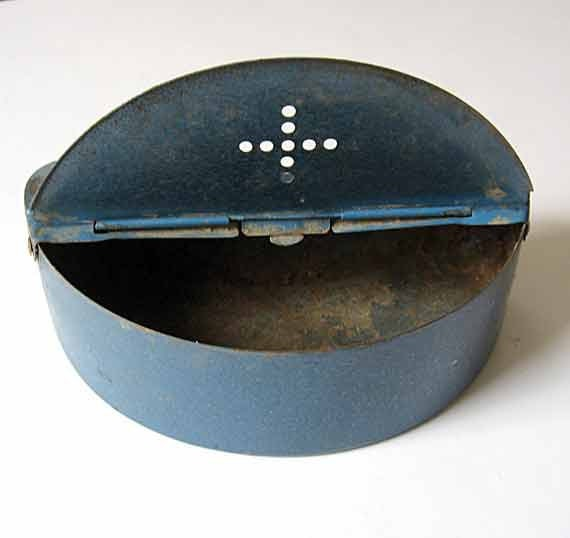 Vintage Metal Bait Box with Belt Clips in Blue for Little