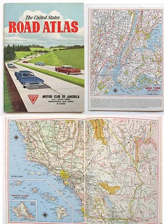 1960 us road atlas 56 pages of maps for by kelleystreetvintage for Road america motor club