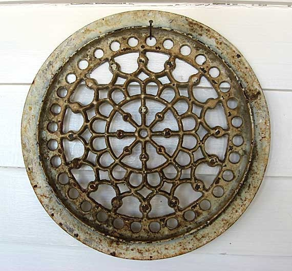 Antique Victorian Decorative Round Cast Iron Grate in Old Paint, Wall Decor, Architectural Detail
