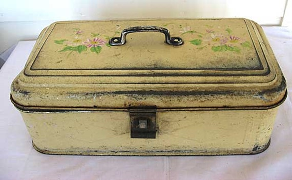 Antique 1910 Vintage Tin Picnic or Storage Box in Old Butter Cream Paint w Floral Decoration