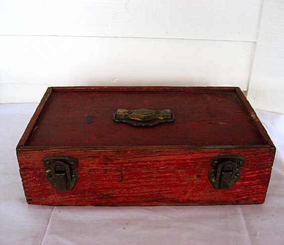 Vintage 1920's Art Supplies, Crafts, Storage Box in Old Red Paint, Bail Handle, Wallpaper Liner