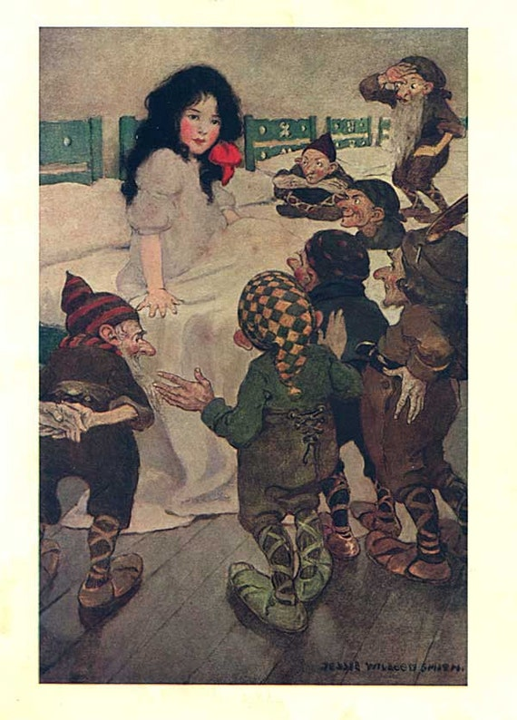 Antique Jessie Willcox Smith Snow White 7 Dwarfs Fairy Tale Illustration Print 1911