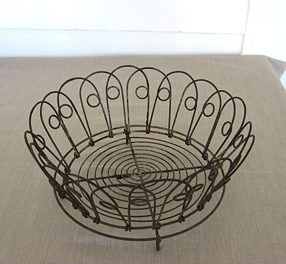 Vintage Folding Wire Footed Basket with Curlicue Design