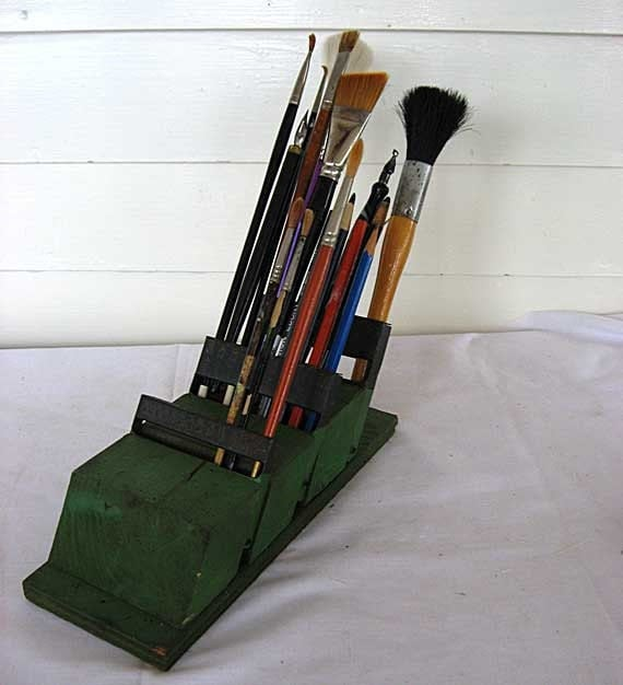 1940'a Vintage Wooden Art Brush, Pencil, Pen Tabletop Holder in Old Green Paint, Old Drill Bit Holder