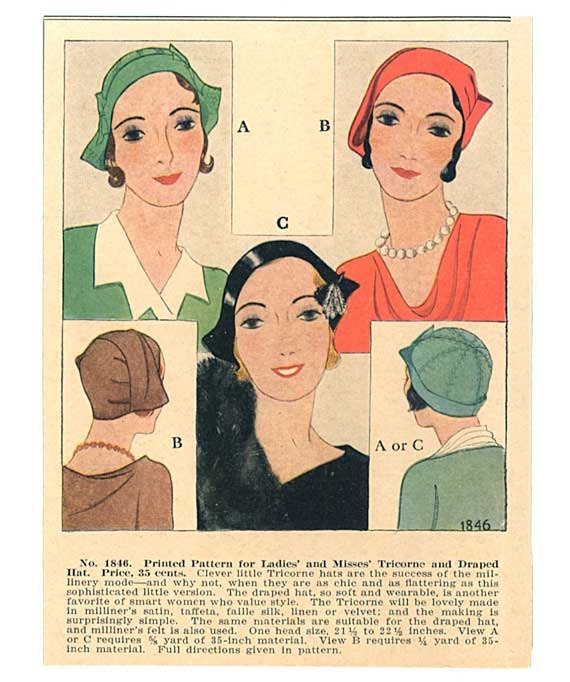 Pair of Vintage 1930's Women in Fashionable Hats Illustration, Prints
