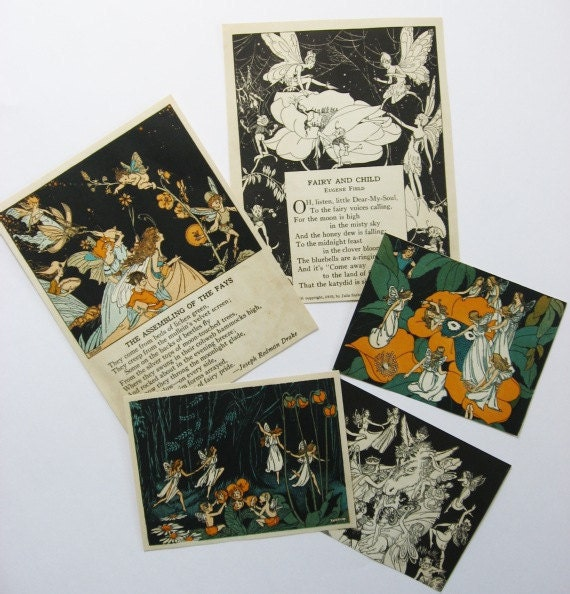 Group of 5 1930's Vintage Childs Book Fairy Illustrations, Prints, Verses, Fairies