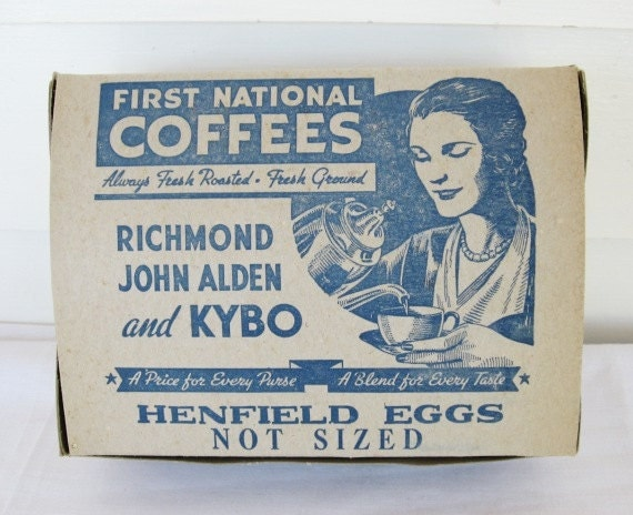 Vintage 1940 First National Stores Unused Henfield Eggs Box w Coffee Advertising on Lid, Woman, Blue and Gray