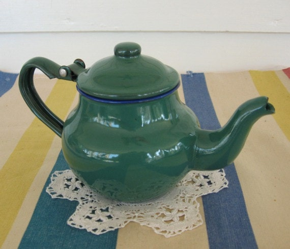 Vintage Green Enamel Ware Teapot, Tea for One, Not Used