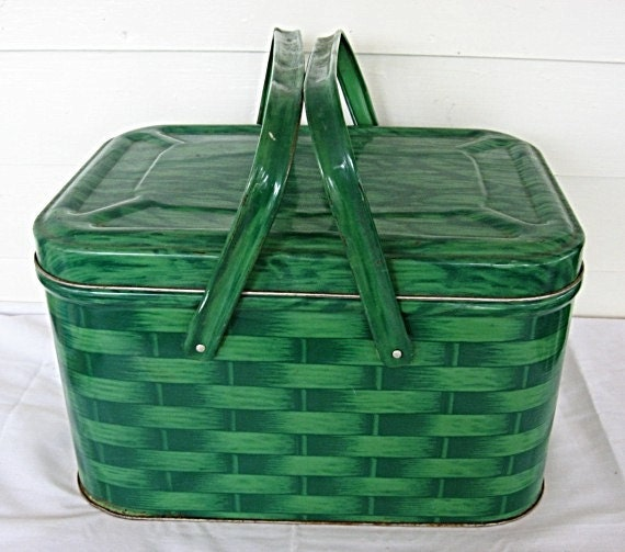 1950's Tin Picnic Basket Storage Tin Box  Container Double Green Basket Weave w Handles