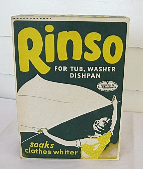 Vintage 1940 Unopened Box of Rinso Soap Powder fin Green, Yellow, White, Woman w Laundry