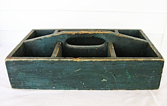 1920 Vintage Wooden Multi-Compartment Uitility, Tool, Garden Box in Old Slate Blue Paint, Carry Handle