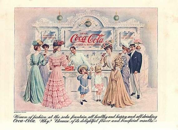Scarce 1905 Coca Cola Advertising Print, Double Sided, Soda Fountain Scene