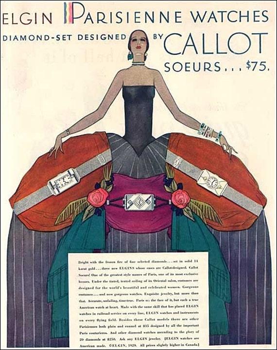 Vintage 1929 Elgin Parisienne Watches Art Deco Woman Advertising Illustration, Print
