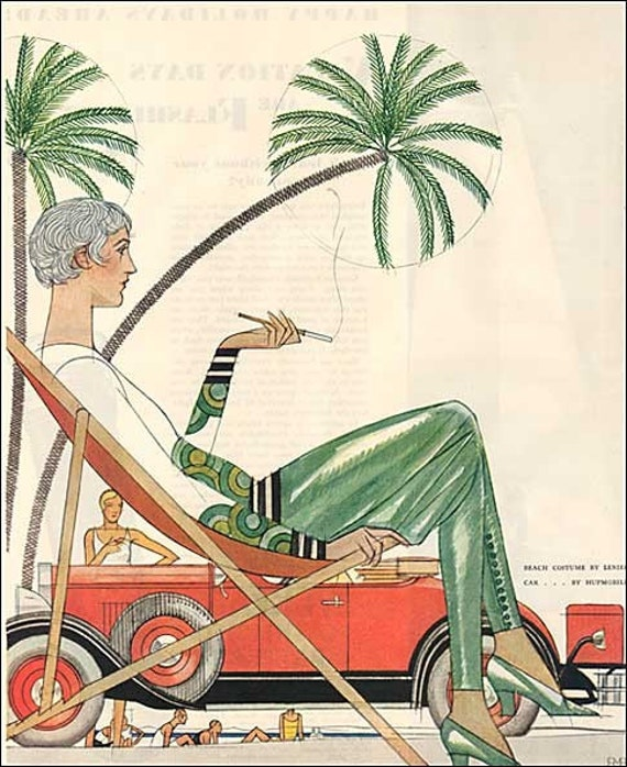 1929 Art Deco Woman in Beach Outfit under Palm Tree Auto Advertisement Illustration