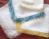 LOT 4 Vintage Handkerchiefs HANKIES Tatting LACE Crochet Trim