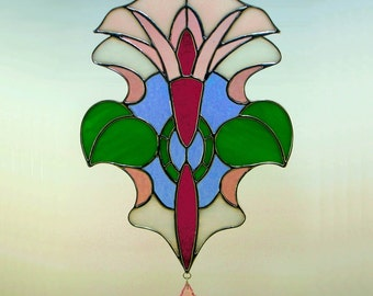 Cranberry and Pink Art Nouveau Flower Stained Glass Suncatcher