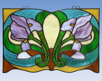 Art Nouveau Stained Glass Iris Panel