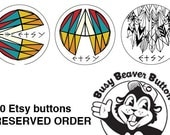 50 1-inch Etsy buttons by Busy Beaver Button Co.
