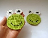 Frog coasters (set of 2) all natural - eco friendly geek, hostess gifts