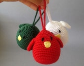 Christmas Ornament Birds in  Holiday Colors (set of 3)