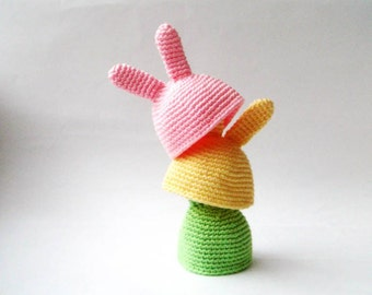 Bunny Egg Hat - Egg Warmer - Egg Cozy in spring colors, easter egg cozy , easter table decoration,easter basket gifts, bunny ears, cute