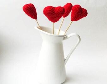 Crochet hearts , amigurumi hearts (set of 4) red hearts,wedding favors ,ornament,3d hearts heart supplies