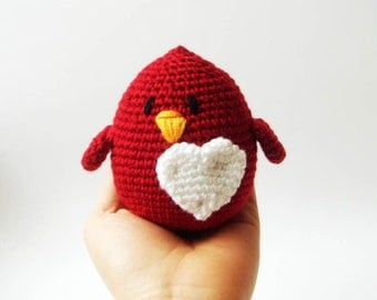Love  Bird  ,crochet toy, christmas , valentines day, anniversary gifts, wedding cake topper, heart, red love bird, bird plushie, nursery