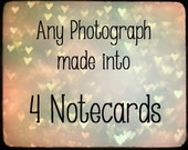 Blank Frameable Notecards Cards - Greeting, I Love You, Anniversary, any occassion - Customize Personalize YOUR Choice - Set of 4