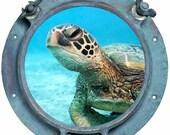 Peek-A-Boo - Sea Turtle Porthole.... - Vinyl Decal