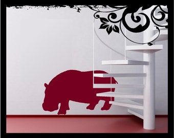 Hippo Silhouette - Vinyl Decal