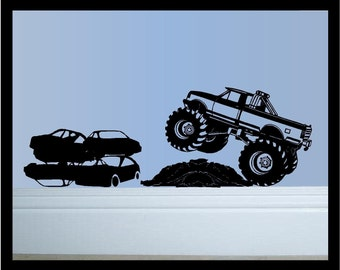 Monster Truck In Action- Vinyl Decal