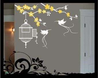 Blooming Branch with Birdcage - Vinyl Decal