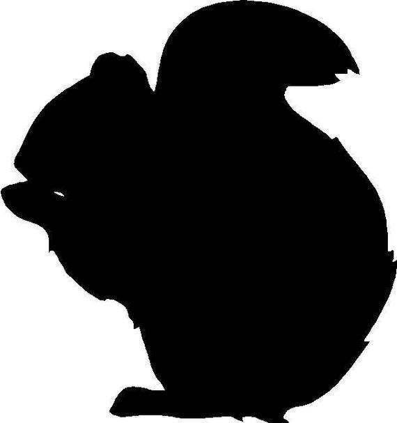 Black Cute Squirrel Silhouette Vinyl Decal