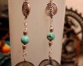 Turquoise Circle Shell Spiral Dangle Drop Earrings