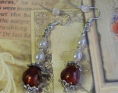 Pearl and Ruby Red Earrings  E74