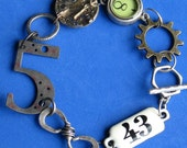 Bracelet with Vintage watch base Choice of Number  PLetHoRa of SteamPunk FuN Findings Unisex Style, Exclusive designs